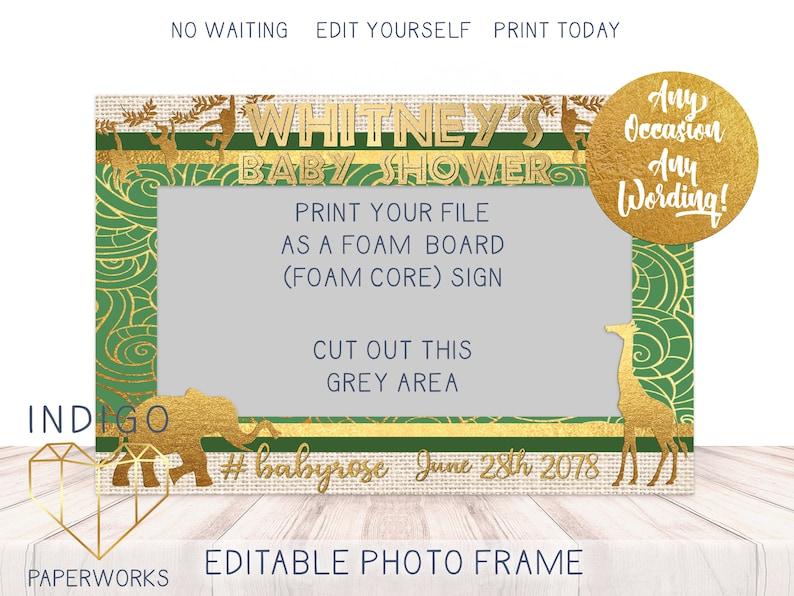 Custom Horizontal Selfie Frame Gold Safari Photo Booth Frame African Jungle Photo Frame 24x36 Baby Shower Printable Photo Booth Prop