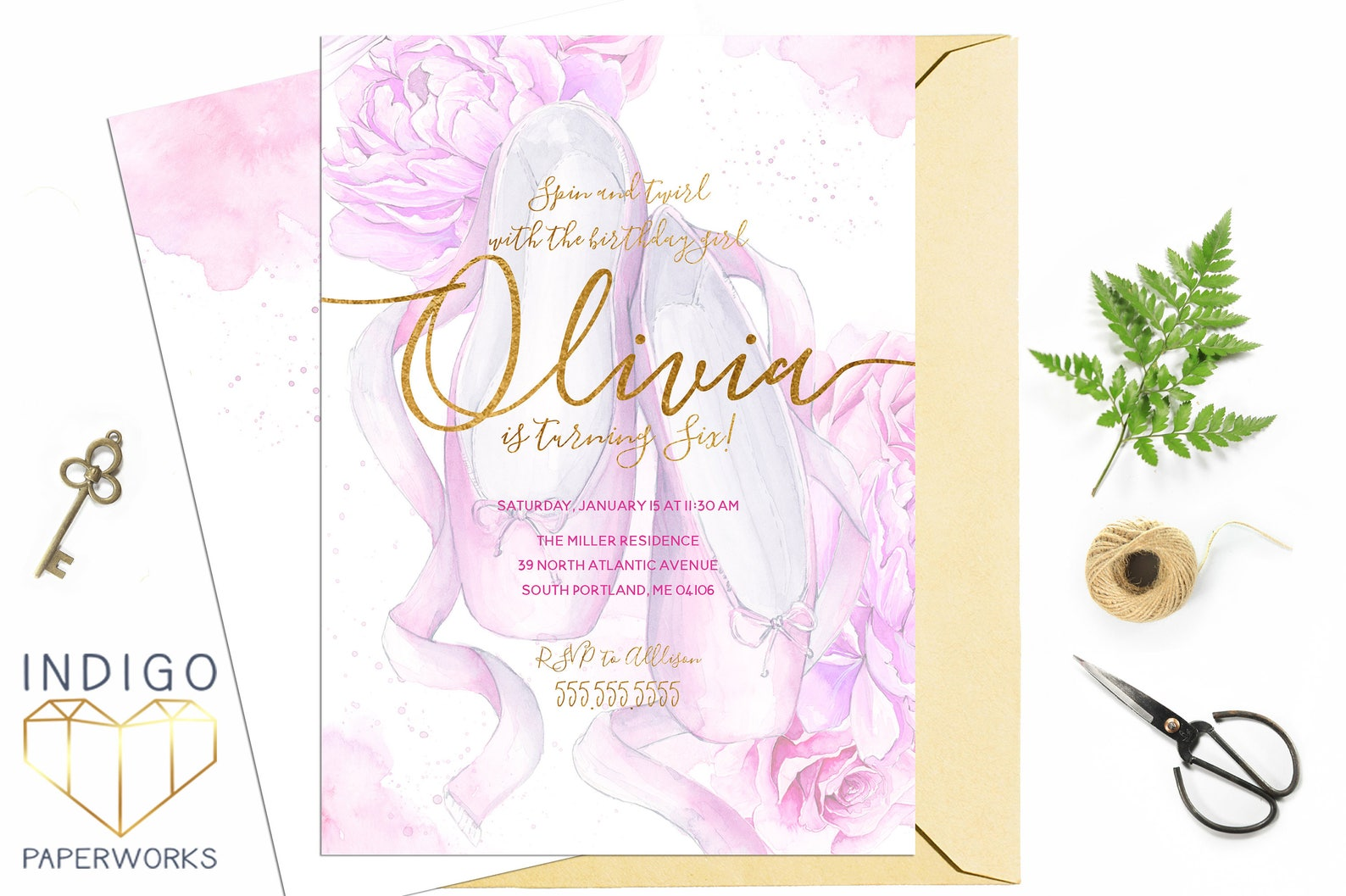 pink and gold ballet shoes invitation, recital, ballerina birthday, dance birthday, ballet party, pink and gold, toe shoes, digi