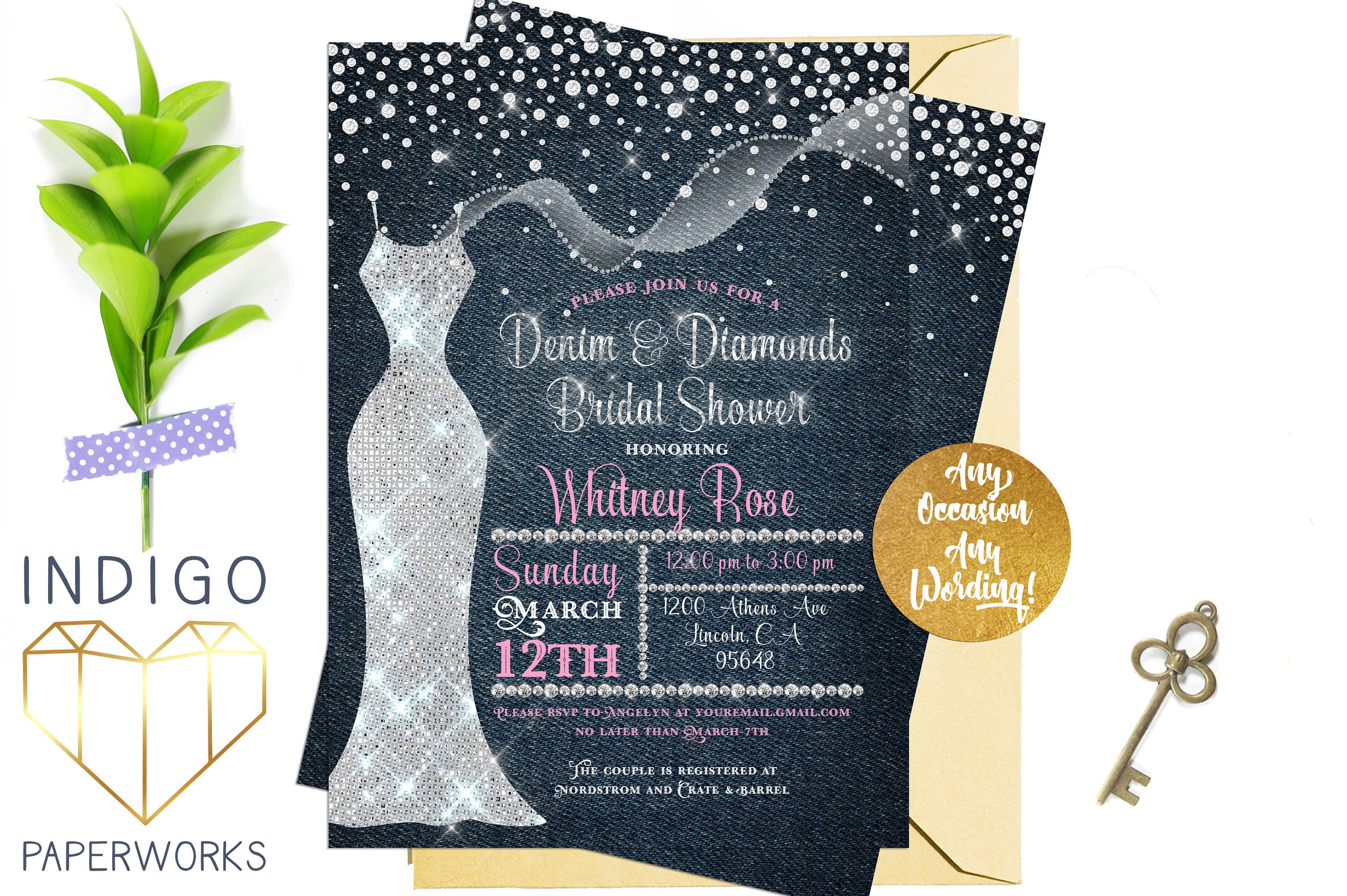 Denim Wedding Invitations: Denim And Diamonds Bridal Shower Invitation Blue Jean