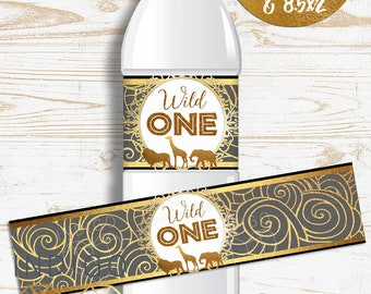 """Black and Gold Safari First Birthday Water Bottle Labels, DIY Party Printable Safari """"Wild One"""" Water Bottle Labels, Birthday Party Decor"""
