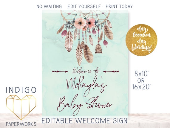 Boho Bridal Shower Instant Download Bohemian Sign Decoration Blush Pink and Mint Baby Shower Poster Printable Dream Catcher Welcome Sign