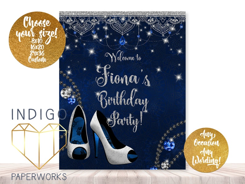 Blue and Silver Birthday Welcome Sign Women s High Heel  8d5b80e1a