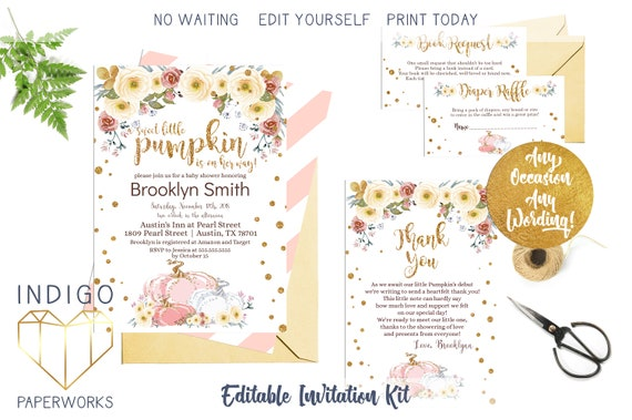 Pink and gold fall baby shower invitation kit little pumpkin etsy image 0 filmwisefo