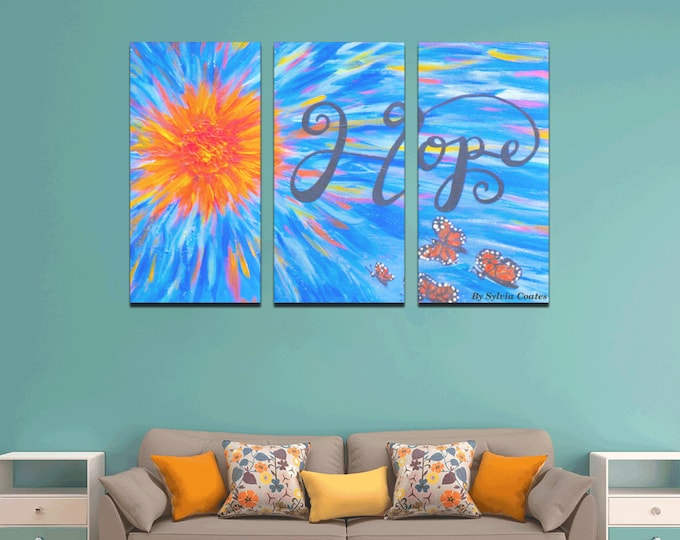 HOPE Wall Art Canvas Print Created from MyOriginal Acrylic (3pcs each  15in x 30in )
