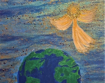 Original Acrylic Painting Revelations 11:15 He shall reign forever and ever
