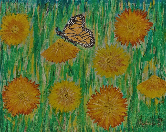 Original Acrylic Painting, Monarch Butterfly, Daisies (24x30) (Prints Available on Amercian Frames)