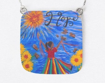 Hope Jeremiah  29:11 Oversize Square Pendant Created from an Original Acrylic Panting