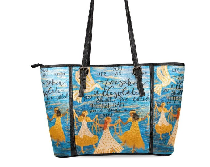 Leather Tote bag Large Created from my Original Acrylic Painting.