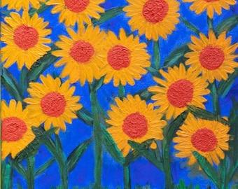 Sunflower Lovers Original Acrylic Painting