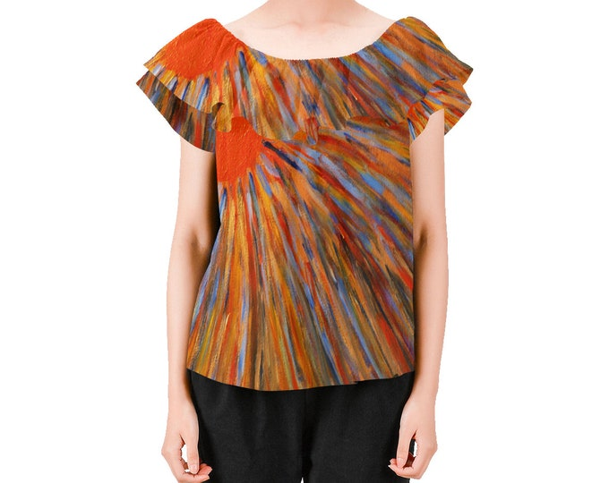 Blouse Created From My Original Acrylic Painting, His brightness is like the sunlight Habakkuk 3:4