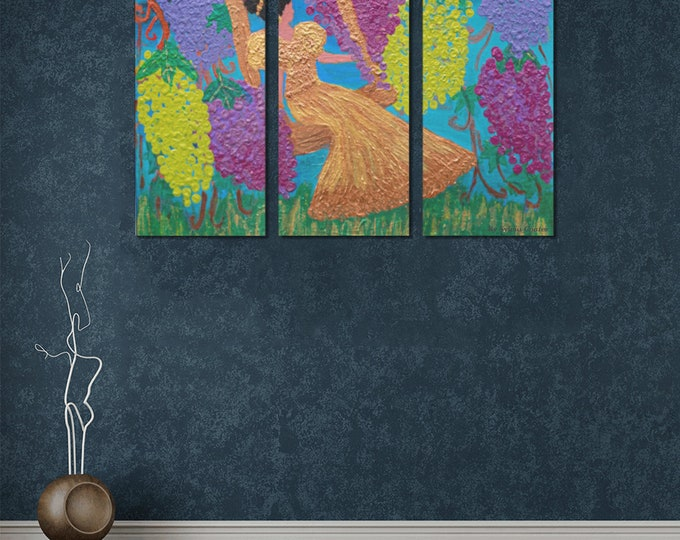 Three Piece  Canvas Print Created From My Original Acrylic Painting
