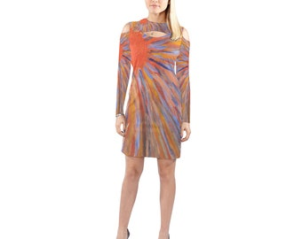 Cold Shoulder Long Sleave Dress Created From My Original Acrylic Painting