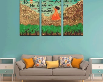 Canvas Wall Art Print  The Lord is my Strength ( 3 pieces ) Created from my Original Acrylic Painting