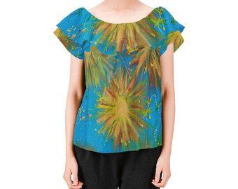 BURST of JOY Ladies on or off shoulders blouse Created From My Original Acrylic Painting