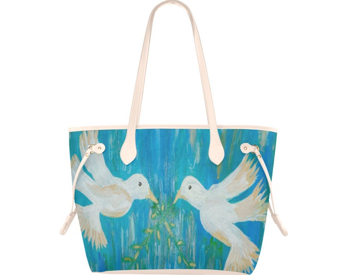 "Canvas Tote Bag Created from my Original Acrylic Painting, ""Doves Love"""