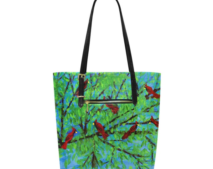 "Euramerican Tote Bag Created from my Original Acrylic Painting "" Look At The Birds Of The Air"""