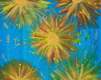 Original Acrylic Painting, A Burst of Joy, Bright, lively, happy, colorful, energetic (16X20) (Print are Available on American Frames)