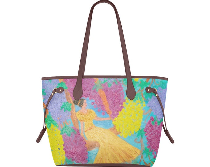"Clover Canvas Tote Bag, Created from My Original Acrylic Painting   ""The Vine"""