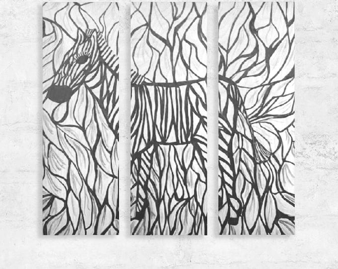 Zebra Wood Wall Art Created From my Original Acrylic Painting
