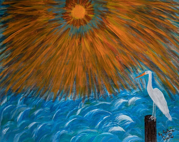 Original Acrylic Painting:Sun Shining the over the ocean and a white crane 30in x 24in (Print are Available)