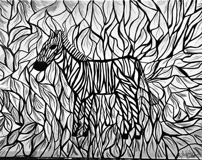 Zebra Original Acrylic Painting