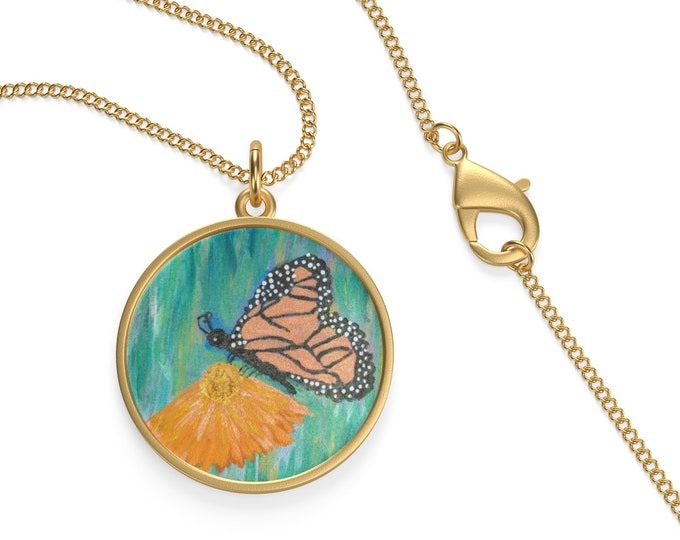 Monarch Butterfly Single Loop Necklace Created From My Original Acrylic Painting