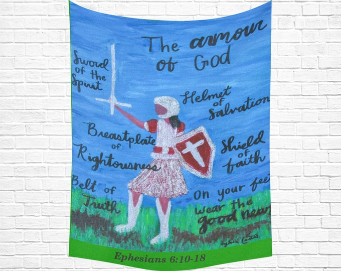 Armor Of God Cotton Linen Wall Tapestry Created from My Original Acrylic Painting