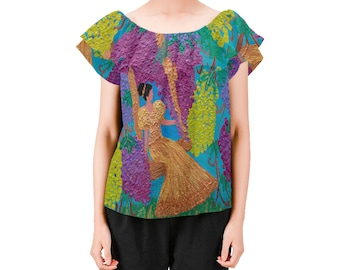 """Ladies on or off shoulders blouse Created From My Original Acrylic Painting  """"THE VINE"""" John15:5"""""""