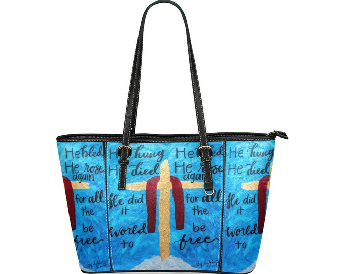 "Leather Tote Bag Large Created From My  Original Acrylic Painting   ""The Cross"""