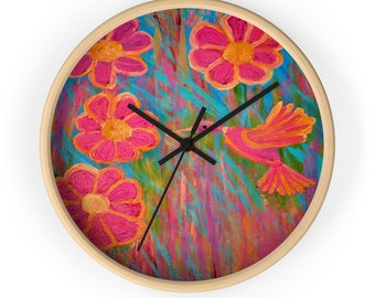 Wall Hummingbird Clock Created From My Original Acrylic Painting