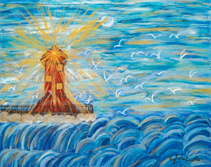 Original Acrylic Painting,  Light House and Ocean Waves, (size 24x30) (Prints Available on Amercian Frames)