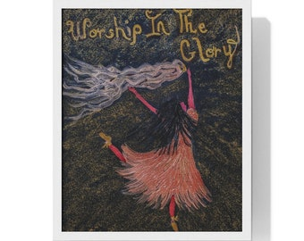"Premium Framed Vertical Poster Created From My Original Acrylic Painting "" Worship in the Glory """