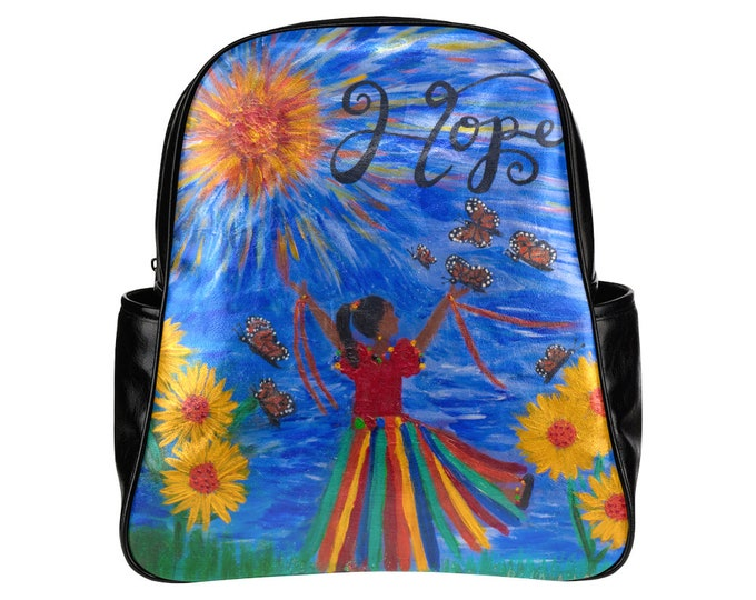 HOPE Multi-Pocket Backpack Created From My Original Acrylic Painting