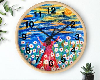 Created From Original Acrylic Painting Wall clock El Shaddai  My God  is more than enough