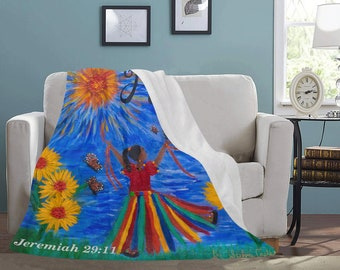 """Personal Fleece Blanket Created From My Original Acrylic Painting """"HOPE"""""""