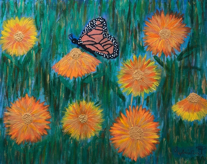 Original Acrylic Painting, Monarch Butterfly, Daisies (24x30)