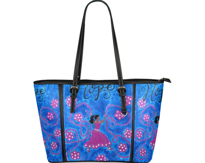 Leather Tote Large Created from My Original Acrylic Painting
