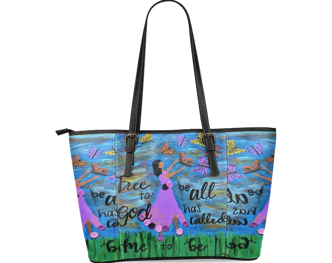 "Leather Tote Bag Large Created from my Orignial Acrylic Painting   ""FREE TO BE"""
