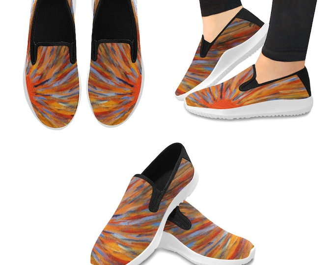 Orion Slip-on Women's Canvas Sneakers Created from My Original Acrylic Painting