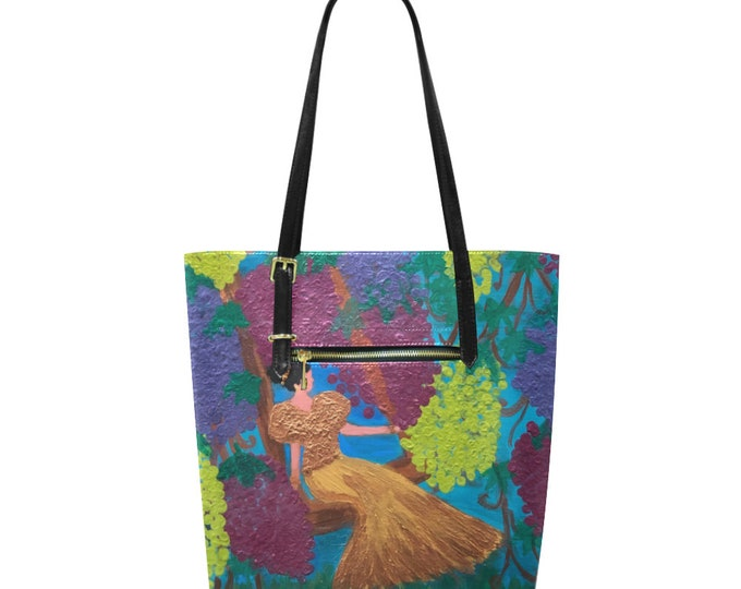"Euramerican Small Tote Bag, John15:5  Created  from My Original Acrylic painting.""I am The Vine; You are the Branches"