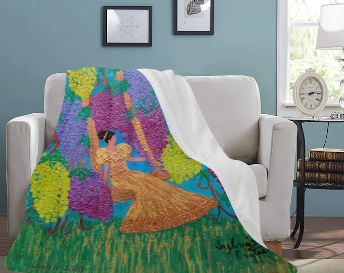 The Vine Fleece Blanket Created From My Original Acrylic  Painting