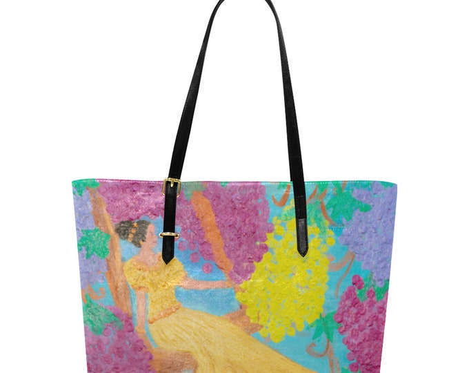 Euramerican Large Tote Bag Created from My Original Acrylic painting