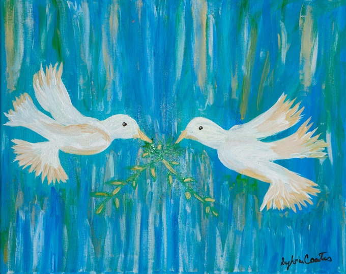 Original Acrylic Painting, Peace Doves Prints (Available on American Frames)
