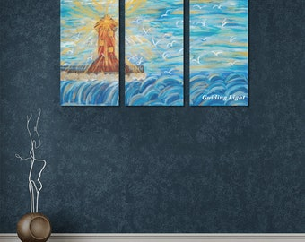 Guiding Light   Wall Art Canvas Print Created from My Original Painting Size: 15in x 30in x 3pcs