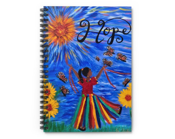 HOPE Spiral Notebook - Ruled Line Created From My Original Acrylic Painting