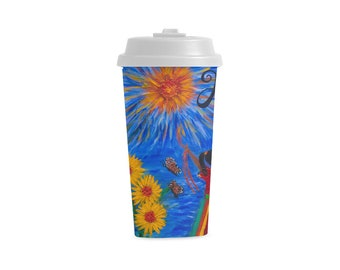 Personalized HOPE Double Wall  Plastic Mug Created from My Original Acrylic Painting