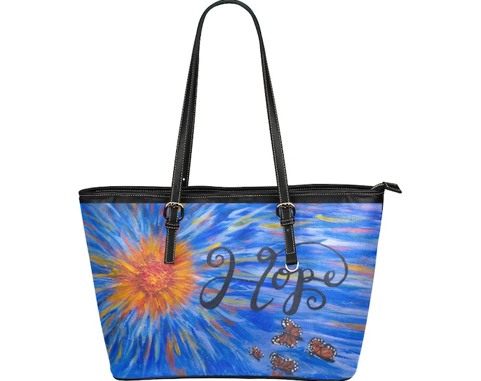 HOPE Leather Tote Bag (Large) Created from My Original Acrylic Painting