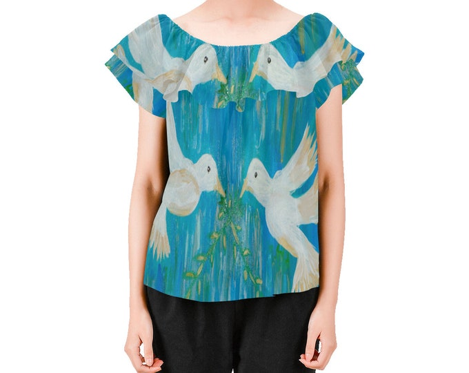 On or Off Shoulder Blouse Created From my Original Acrylic Painting
