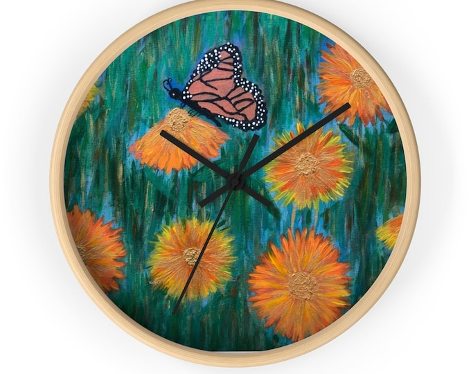 Monarch Butterfly and the Daisies Wall Clock Created From My Original Acrylic Painting