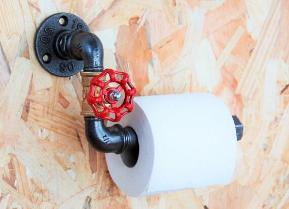 d rouleur papier toilette vanne style industriel en tuyaux de etsy. Black Bedroom Furniture Sets. Home Design Ideas